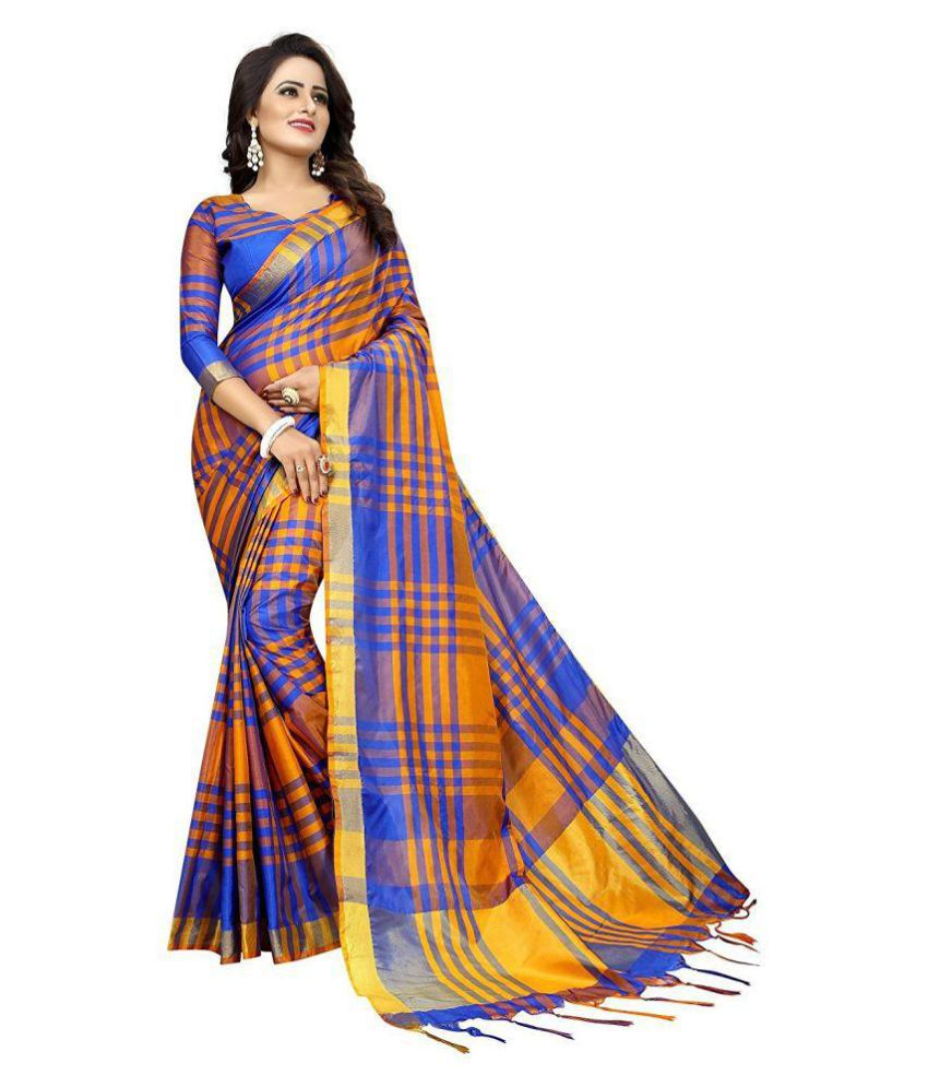 60feb2c10 THE DESIGN HUB Yellow and Blue Uppada Silk Saree - Buy THE DESIGN HUB  Yellow and Blue Uppada Silk Saree Online at Low Price - Snapdeal.com