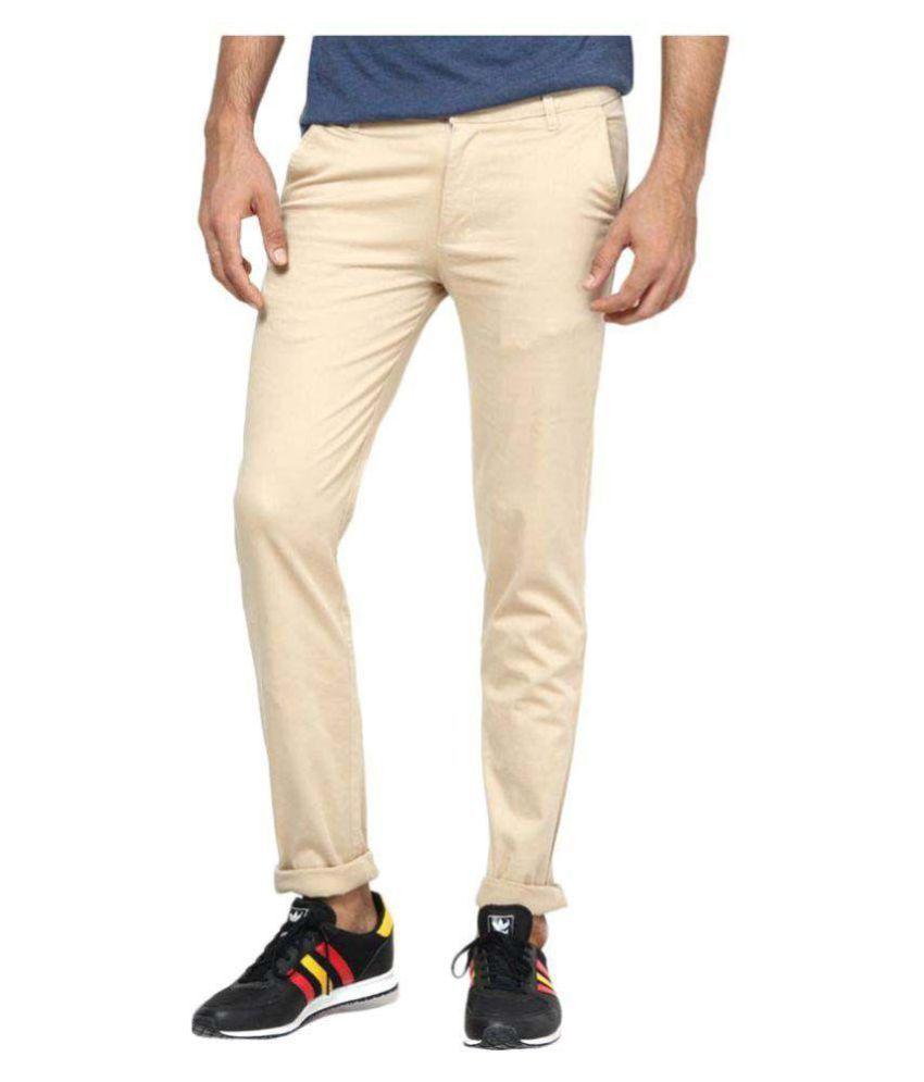 Jedinz Beige Slim -Fit Flat Trousers