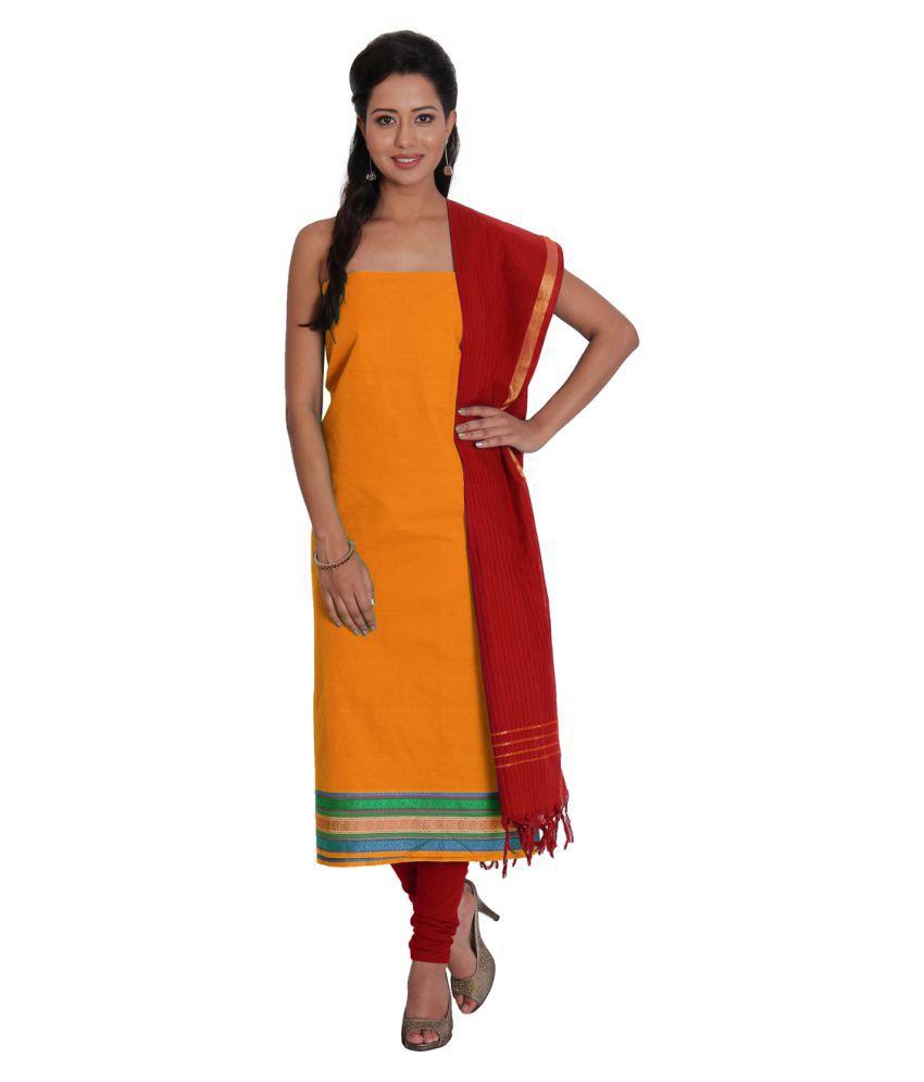 Platinum Orange Cotton Dress Material
