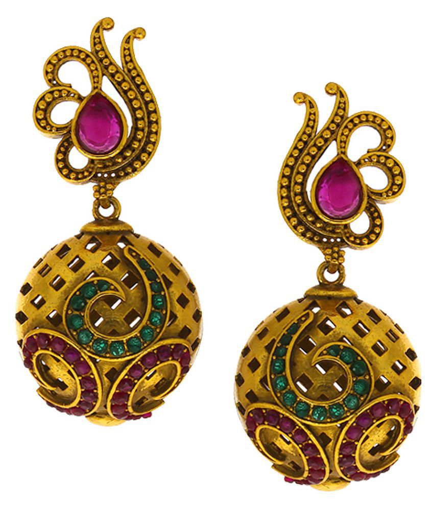Anuradha Art Pink-Green Colour Studded Shimmering Stone Wonderful Classy Traditional Jhumki/Jhumkas Earrings For Women/Girls