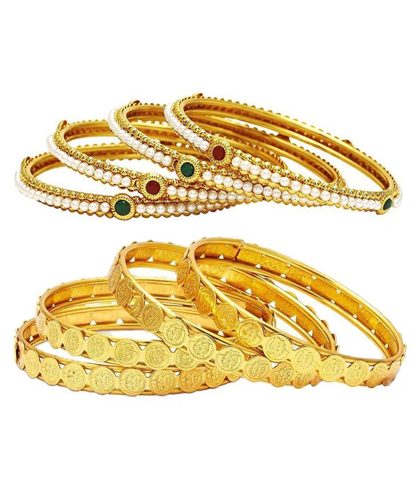 Aabhu Traditional Stylish Gold Plated Bangle Kada Set Jewellery Combo of 4 Pair for Women And Girl