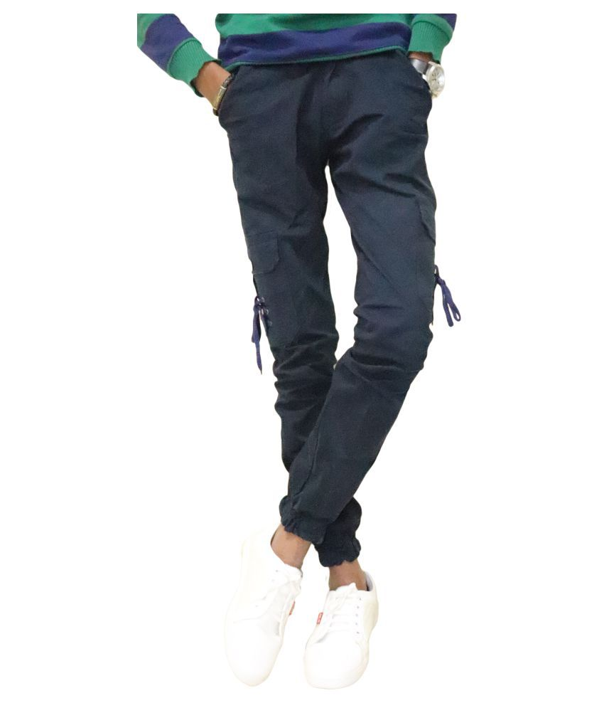 DREAM VISION Dark Blue Slim -Fit Flat Cargos