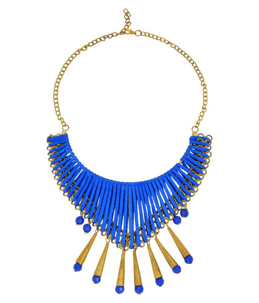 DzineTrendz Blue Fabric, handmade by specially abled persons, Fabric and thread necklace for Women