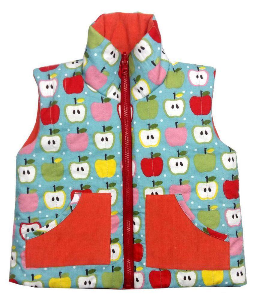 Girls Blue Apple Orange Corduroy Jacket