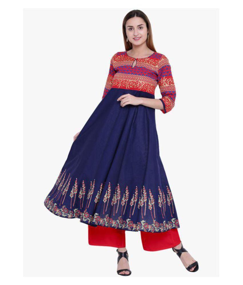 Varsha Fashion Navy Cotton Anarkali Kurti