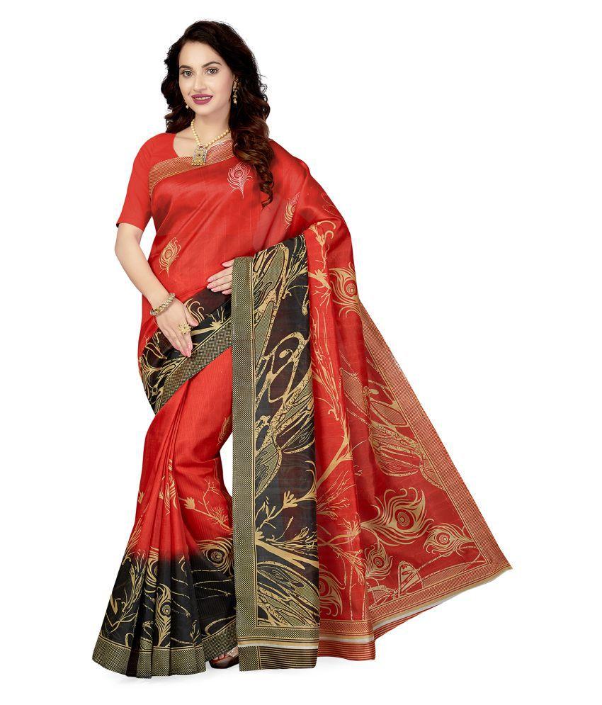 Ishin Red Art Silk Saree