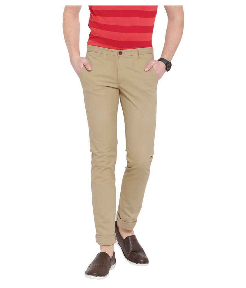 DUKE Brown Skinny -Fit Flat Trousers