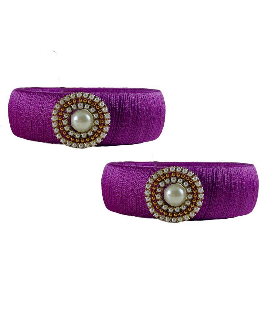 Handmade Magenta Silk Thread Bangles