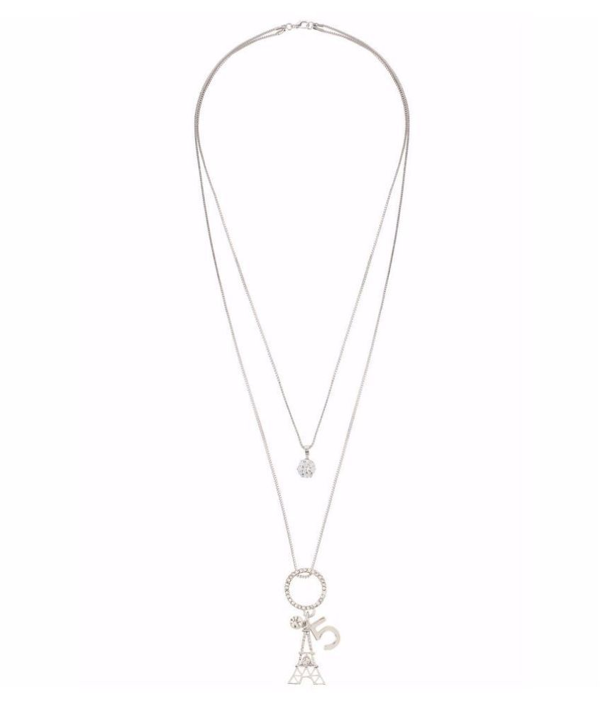 Archi Collection Trendy Stylish Silver Plated Fancy Party Wear Long Chain Pendant Necklace for Girls and Women