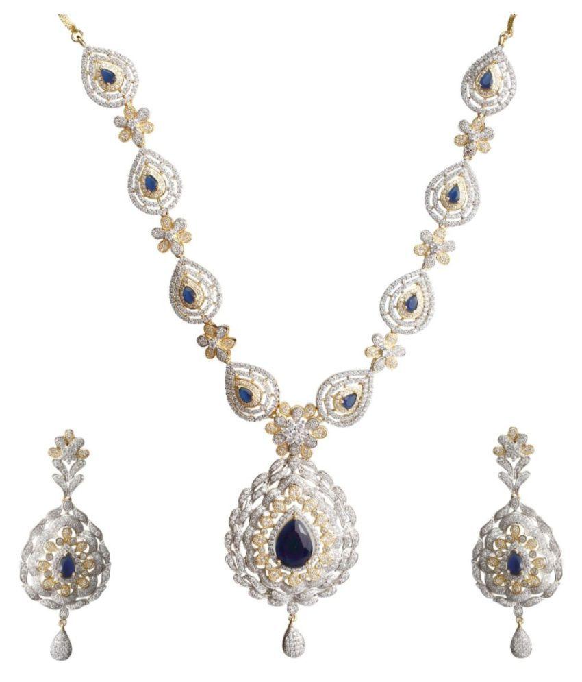 Biyu Bridal Style American Diamond Tear Drop Sapphire Blue Gold Plated Necklace set