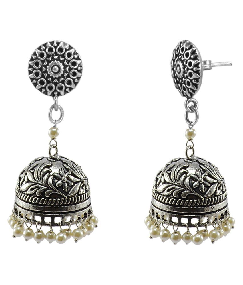 Silvesto India Royal Traditon Pearls-Dandiya Earrings And Spiritual Round Jhumki PG 117299