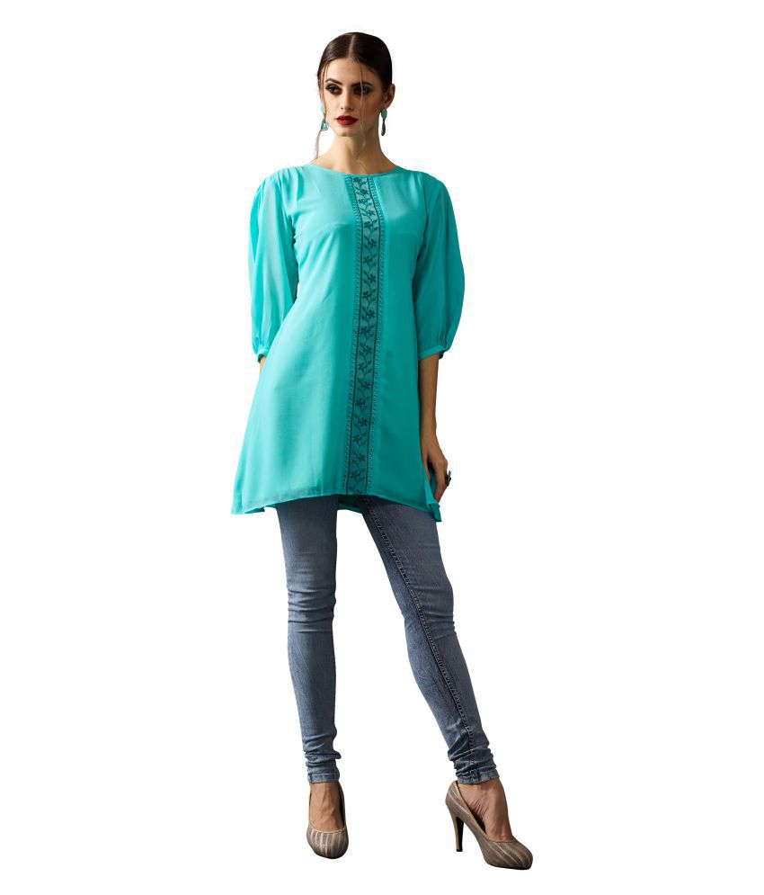 Patiala House Green Georgette Straight Kurti