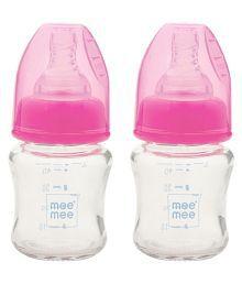 Mee Mee Premium Glass Feeding Bottle (Pack of 2, Pink)
