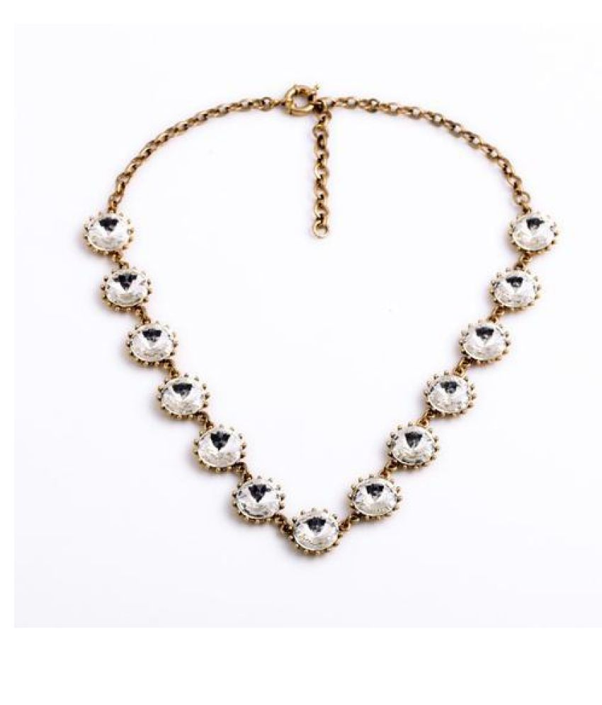 Bling Style White Round Crystal Necklace