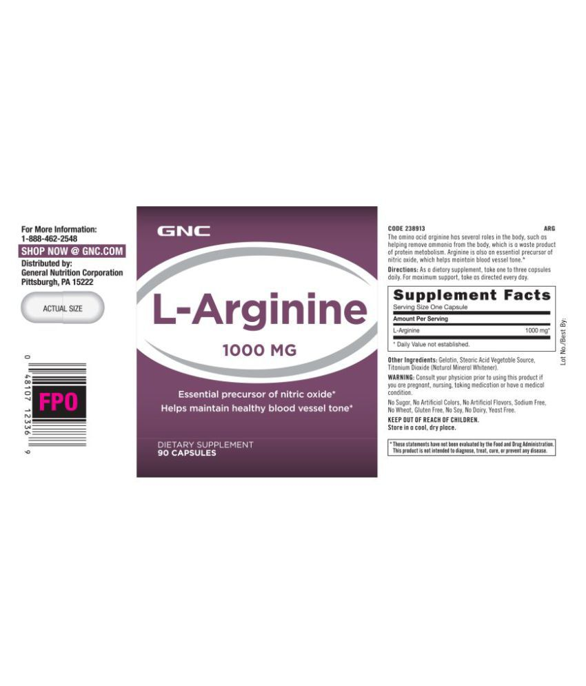 GNC L-Arginine 1000mg 90 no s