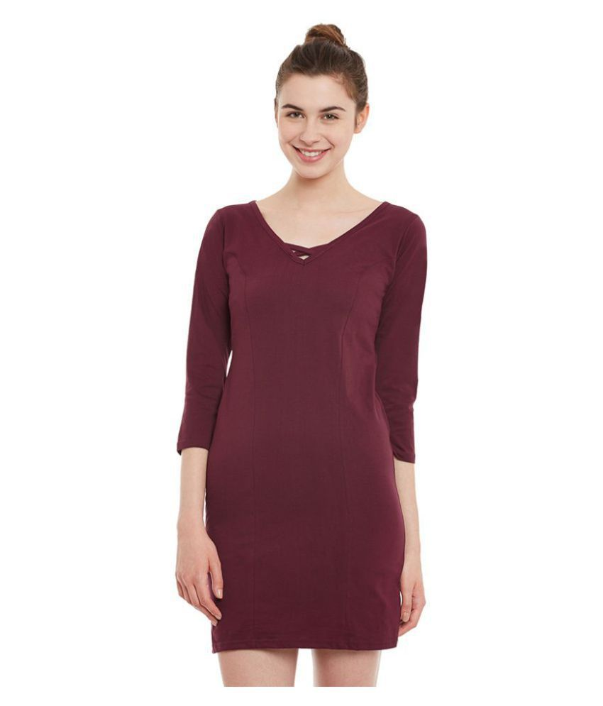 Miss Chase Cotton Maroon Shift Dress