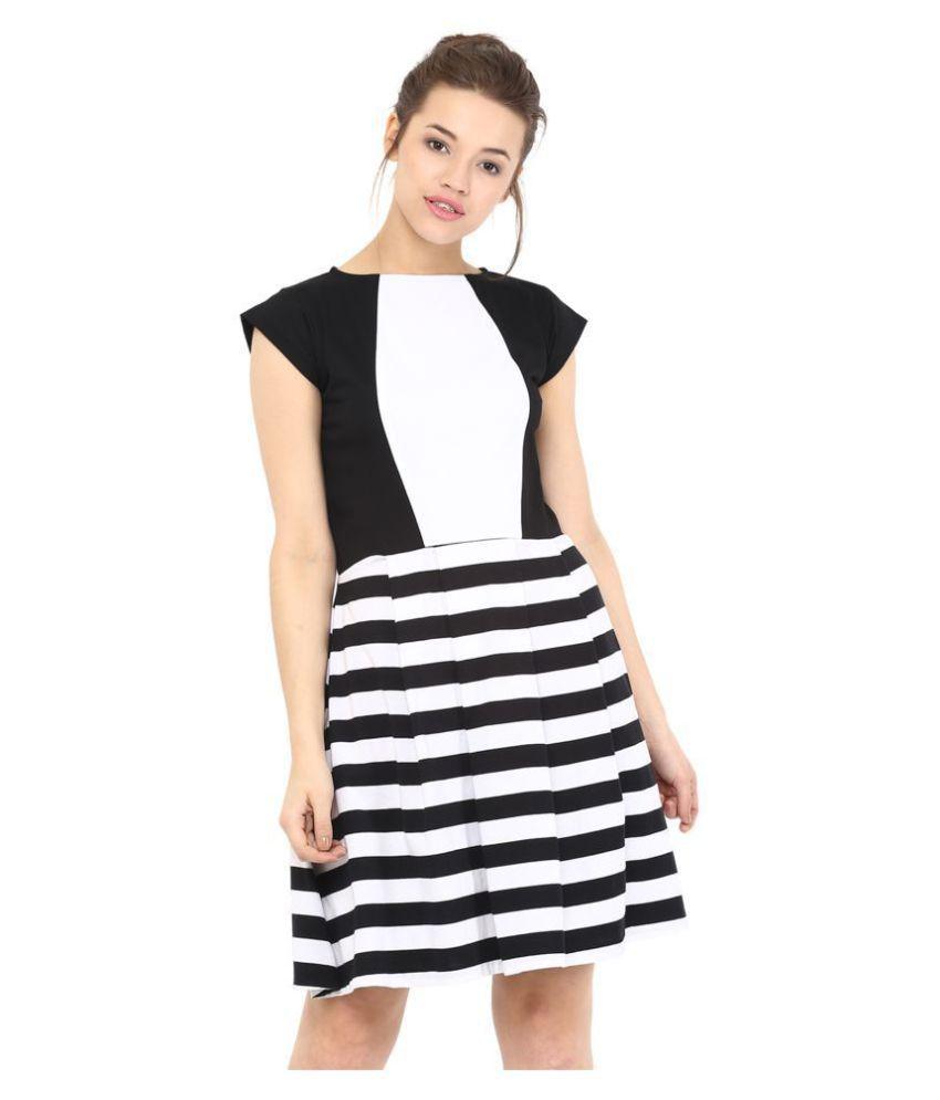 Miss Chase Cotton Multi Color Skater Dress