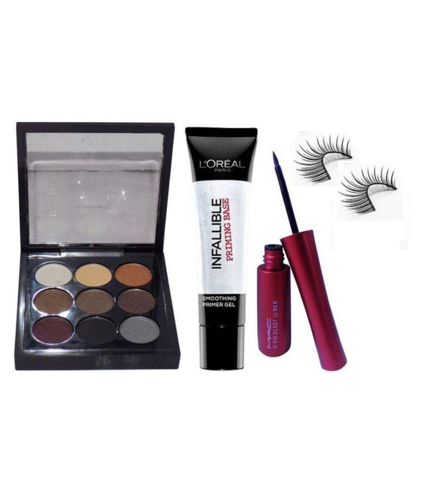 ... mac professional makeup 9 colors eyeshadow palette loreal primer eyeliner eyelashes makeup kit ...