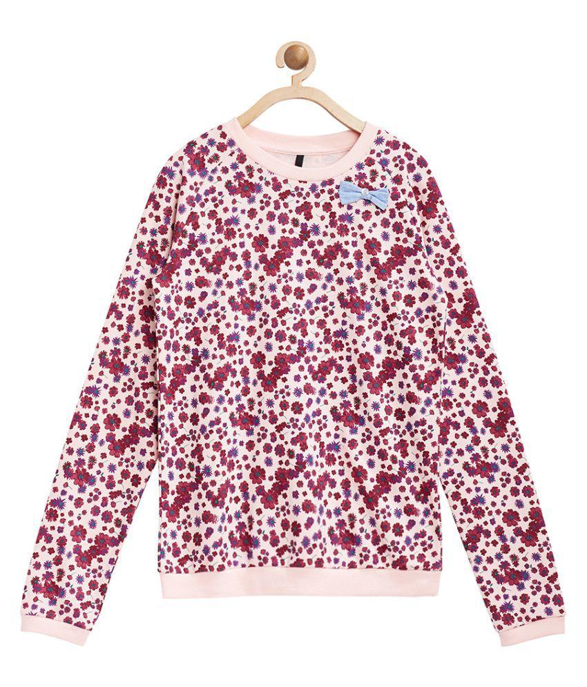 United Colors of Benetton Peach Floral Printed Sweatshirt - 16A3P67C12ACI901M