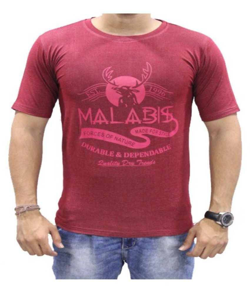 MALAABIS Maroon Round T-Shirt Pack of 1