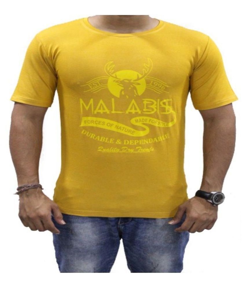 MALAABIS Yellow Round T-Shirt Pack of 1