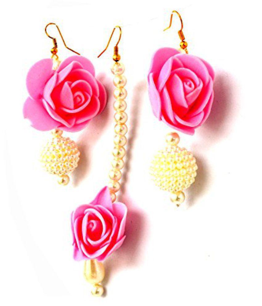 Floret Jewellery Pink Flower Jewellery Earrings & Maang Tika For ...