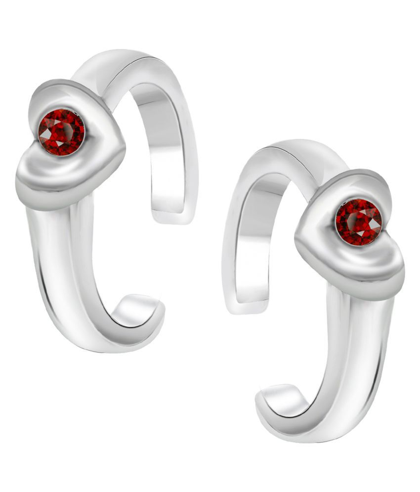 Oviya Rhodium Plated Exclusive Valentine Toe Rings with Crystal Stones for girls and women TR2101001RRed