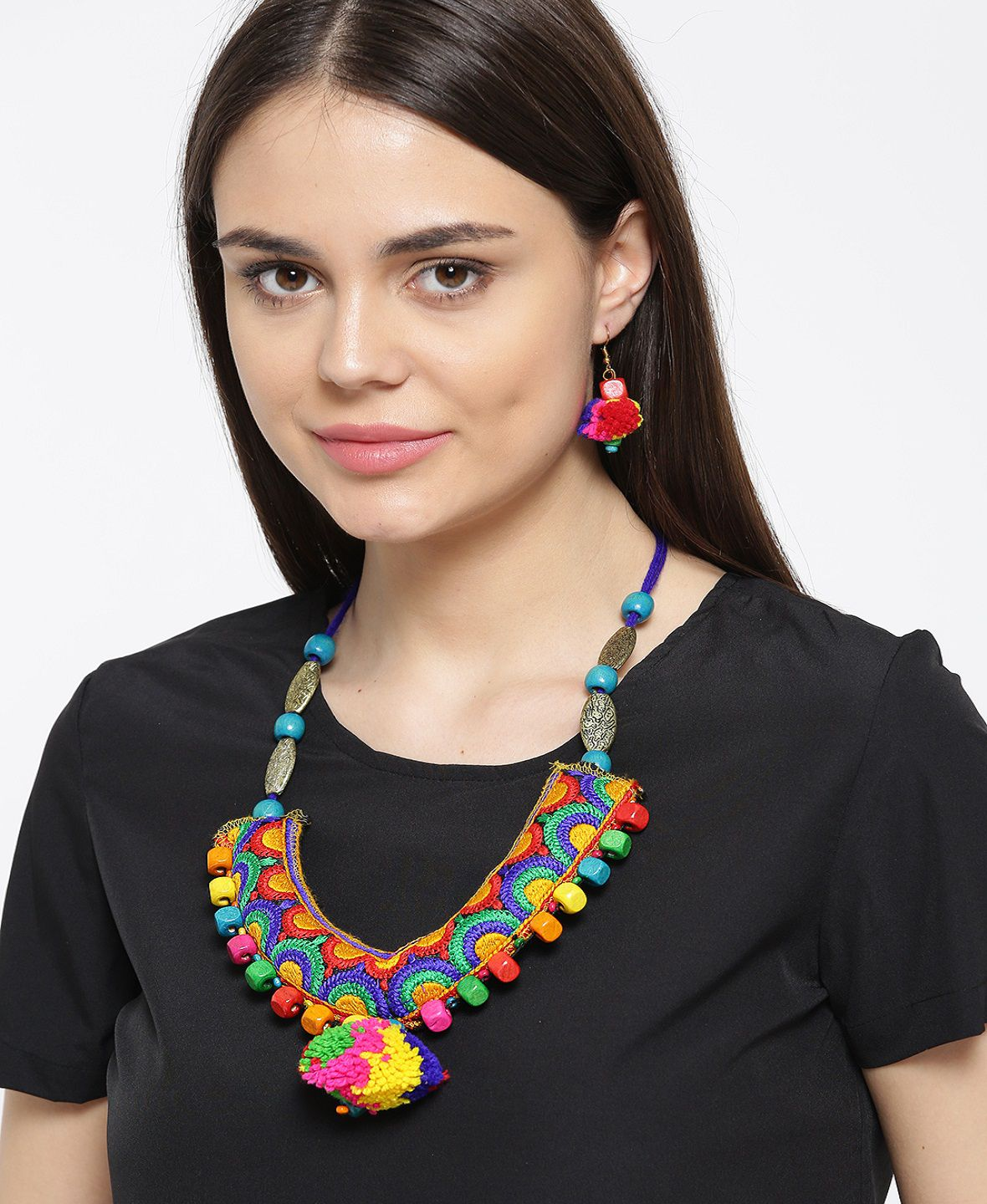 Prita Multi Color Original Pom Pom Necklace Set …