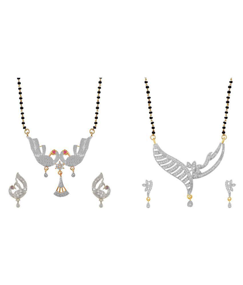 Aabhu Popular Combo of 2 Amercian Diamond Mangalsutra with Earrings Jewellery Set for Women