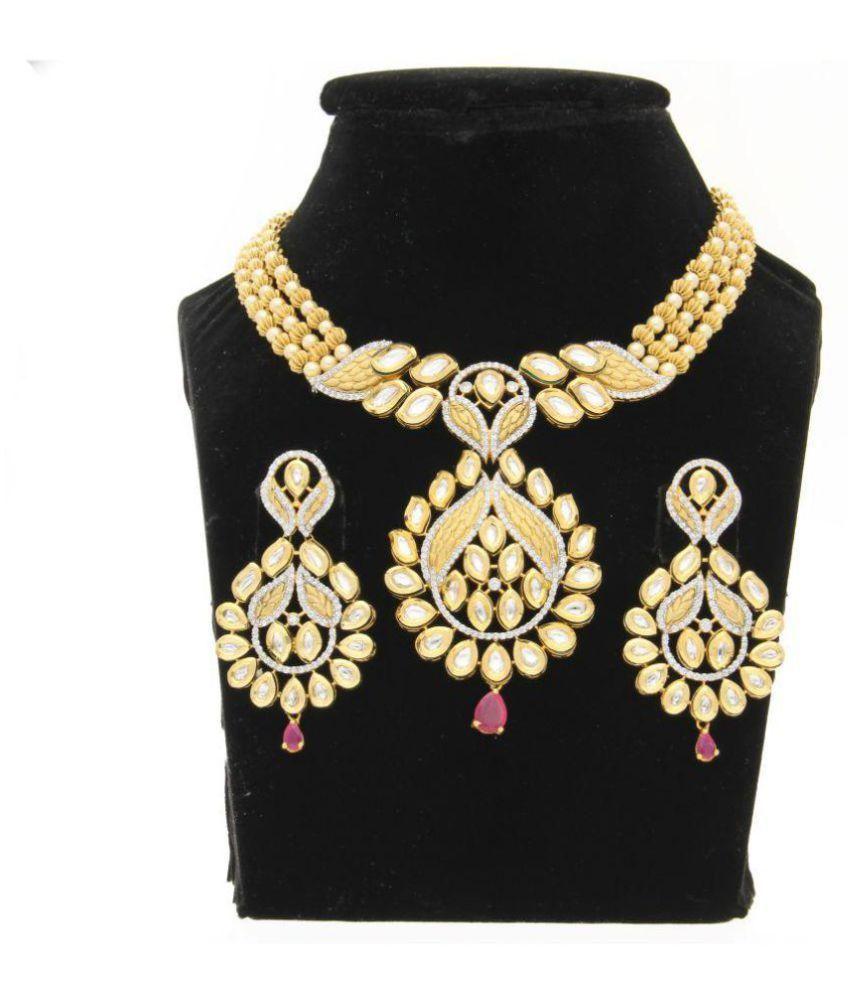 Aretha Jewels 92.5 Gold Necklace Set