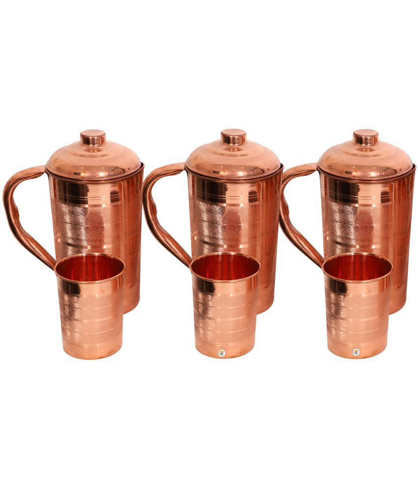 KDT Three Copper Jug Pitcher With 3 Glass 6 Pcs Jug and Glass Combo