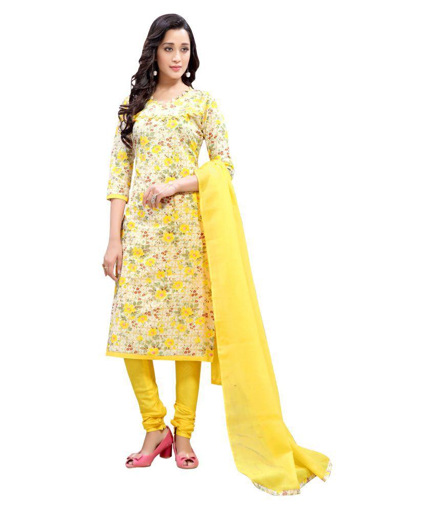 MINU Yellow Cotton Straight Stitched Suit