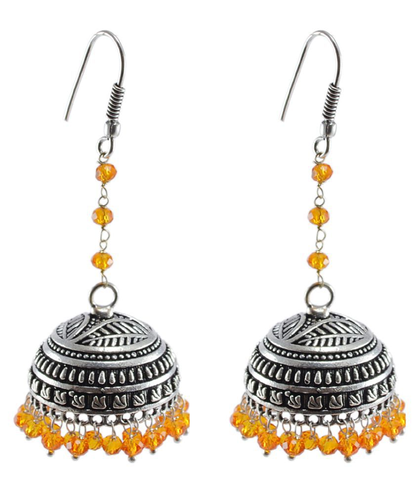 Beaded Dangling Gorgeous Jhumki Earring-Orange Crystal Beads Bridal Wedding Handmade Dangling Jhumka-Traditional Jewelry By Silvesto India PG-121257