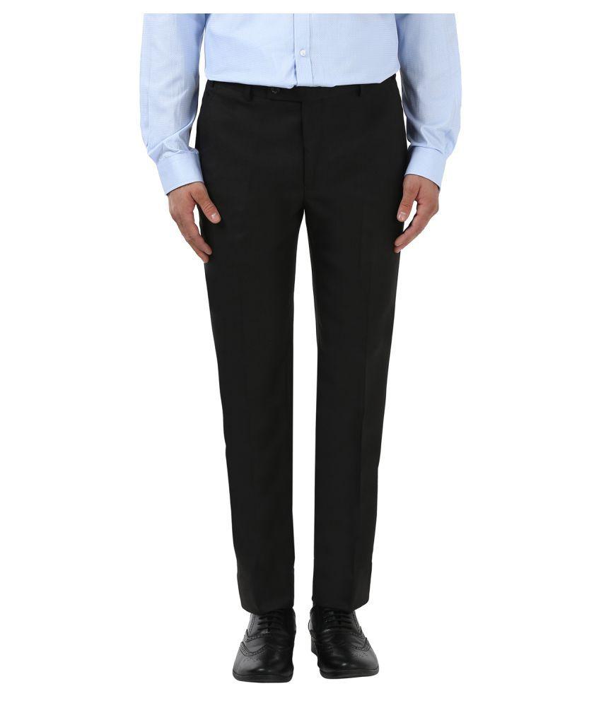 Park Avenue Black Slim -Fit Flat Trousers