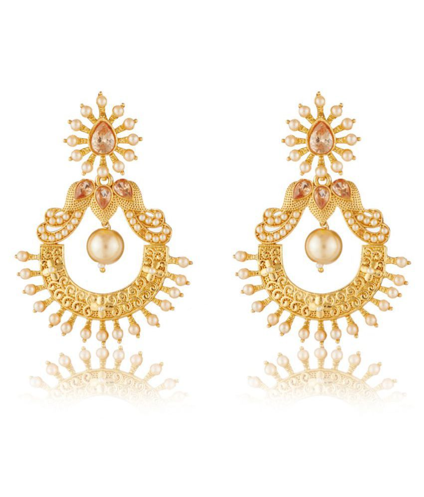 Elakshi White Stone Gold Plated Alloy Earrings