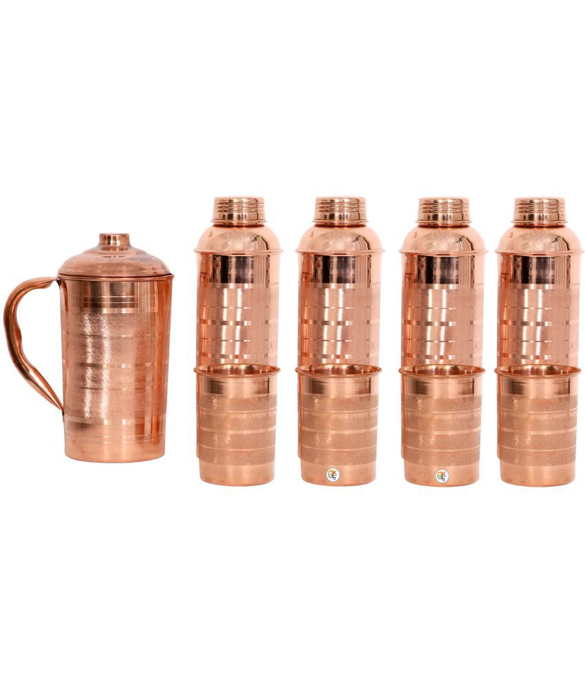 KDT Copper Jug Pitcher With 4 Bottle and 4 Glass 9 Pcs Jug and Glass Combo