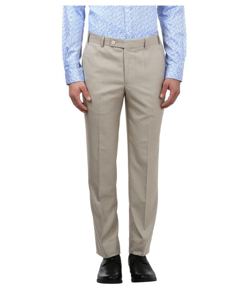 Park Avenue Beige Slim -Fit Flat Trousers