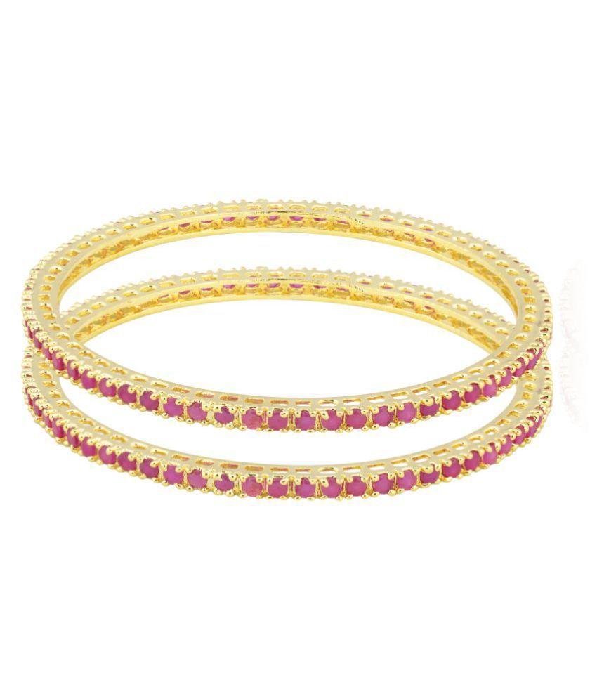 Shining Jewel 24K Gold Plated American Diamond CZ Solitaire Bangles For Women\n (SJ_3156_26)