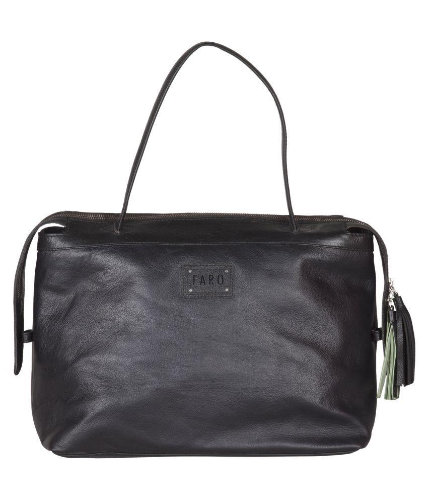 Faro Black Pure Leather Shoulder Bag