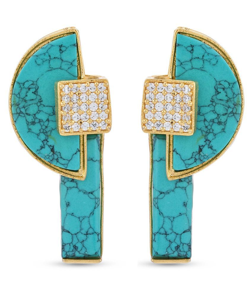 Tistabene Contemporary Indo Western Colored Stones Designer Gold Plated Latest Trendy Stud Earring For Women and Girls (ER-3176)