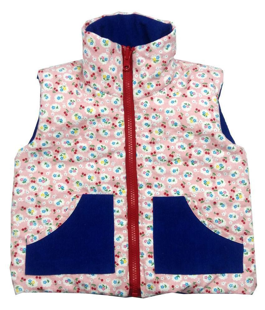Girls Pink Cherry Blue Corduroy Jacket