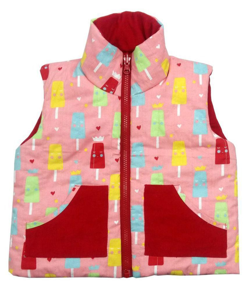 Girls Pink Ice-cream Red Corduroy Jacket
