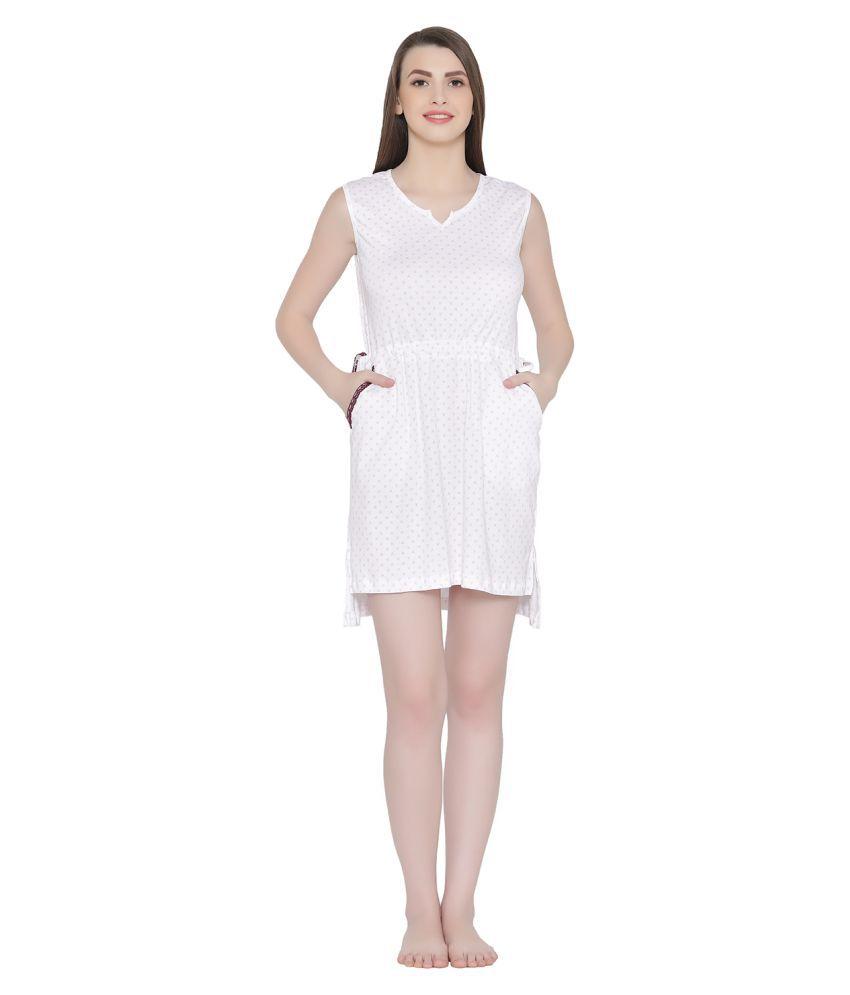Clovia Poly Cotton Nighty & Night Gowns - White