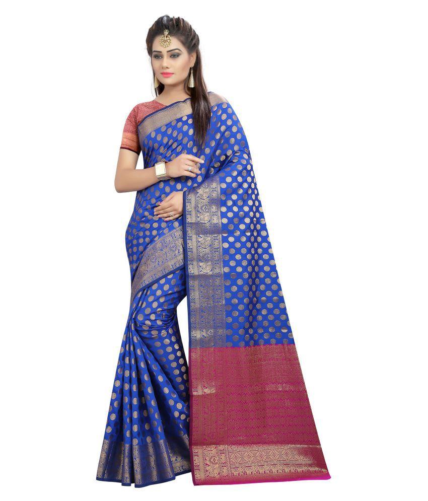 Craftliva Blue Banarasi Silk Saree