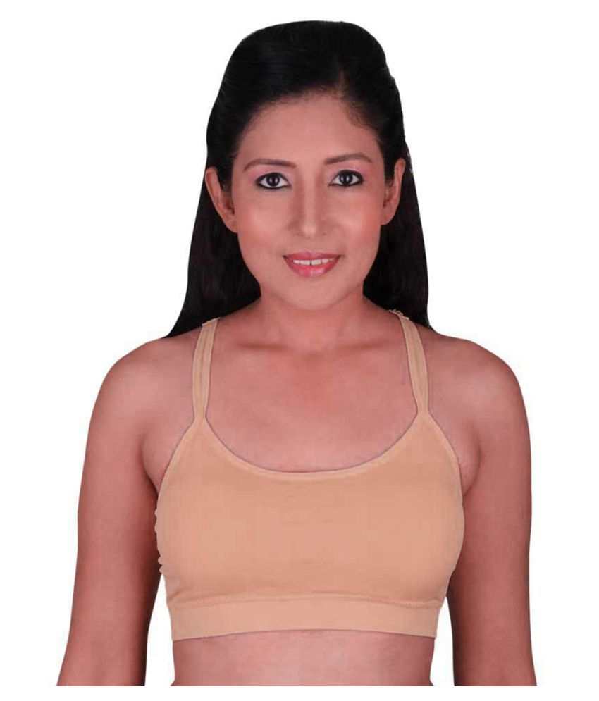Vekariya Creation Cotton Lycra T-Shirt Bra - Beige