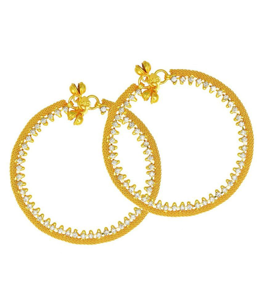 DzineTrendz Gold Plated CZ studded Flatchain Gold Diamond look Anklet for Women