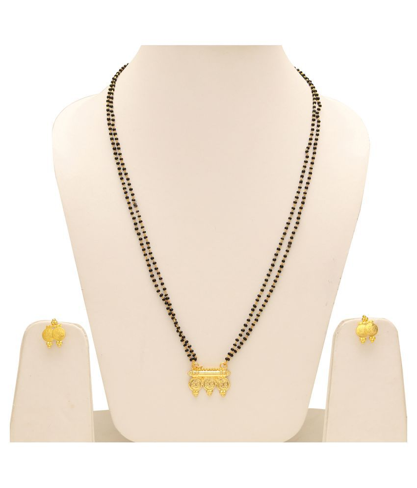 DzineTrendz Gold coated over Brass, 3 Laxmi coin Ethnic Traditional  Mangalsutra with matching earring jewellery necklace Women Tanmaniya for  Women
