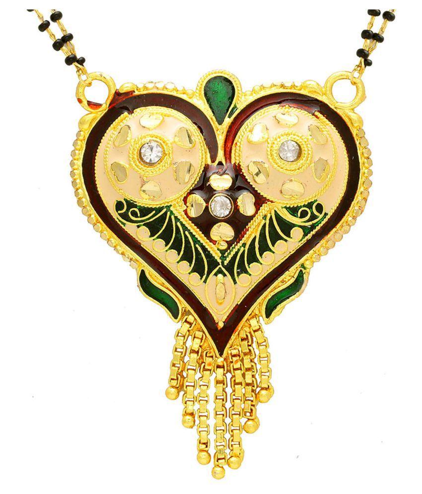 DzineTrendz Gold plated Brass CZ studded Meenakari Heartshape design Traditional Mangalsutra necklace jewellery Women Girls Tanmaniya