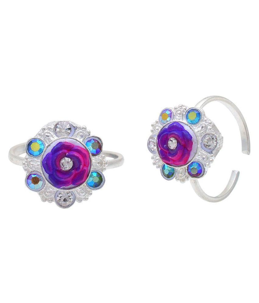 DzineTrendz Sterling Silver coated Reddish Violet round shape toering