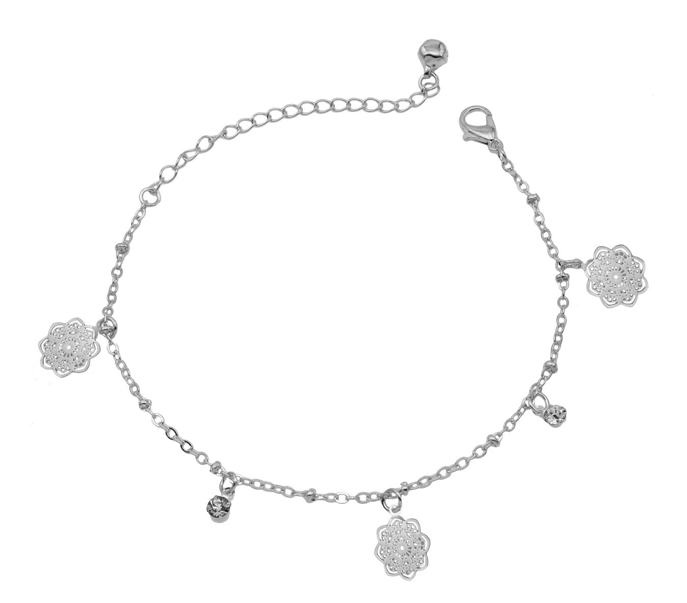 High Trendz Trendy Light Weight Silver Plated Anklet With Beautiful Hanging Flower For Women And Girls